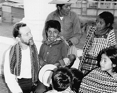 Father Stanley Rother of Oklahoma, seen here among his beloved Guatemalan people. During the bloody civil war there, he searched in roads and ditches for the bodies of those killed, to give them Christian burial. He was deemed suspicious also because he looked for food and assistance for widows and orphans of the dead and missing.