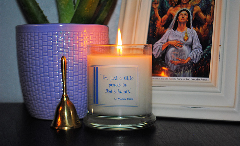 Soy Luz's Mother Teresa candle has a warm, soft scent that is calming but not overpowering. The packaging on the Light + Pray Collections says,