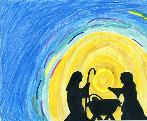 Este dibujo del Nacimiento fue creado por Victoria Hernandez, una estudiante de sexto grado en la escuela St. Kevin de Miami. Ganó el primer premio, entre los concursantes de quinto y sexto grado, del Concurso de Arte para Niños Misioneros. Haga