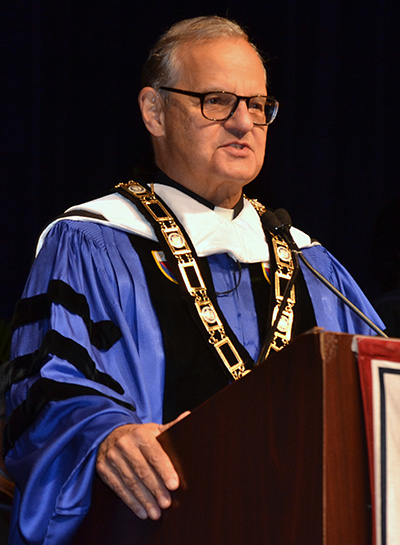 Dec. 16, 2017JIM DAVIS | FCMsgr. Franklyn Casale, president of St. Thomas University, speaks at a graduation ceremony in December 2017.