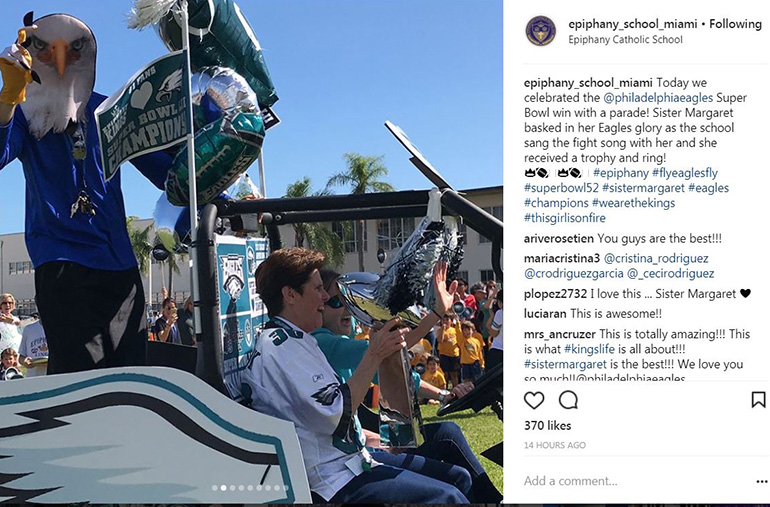 Sister Margaret Fagan, principal of Epiphany School in Miami, gets her own Super Bowl celebration parade after returning to Miami from watching the big game in person.
