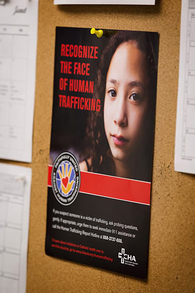 A public awareness poster at Holy Cross Hospital in Fort Lauderdale calls attention to the problem of human trafficking. The hospital is launching a Sexual Trafficking and Exploitation Program (STEP) program linking medical staff with community resources to provide a holistic response to sexual and human trafficking in South Florida.