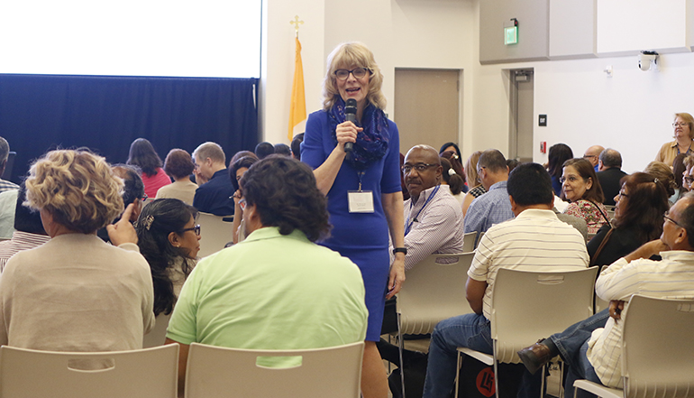 Keynote speaker Mary Ann Otto of the Diocese of Green Bay, Wisconsin, answers questions from participants at Planting the Seed. 