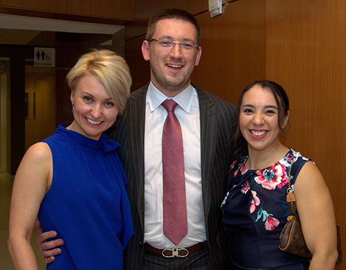 Younger lawyers who attended the 20th anniversary gala for Catholic Legal Services in Miami include, from left, Anastasia White, Aliaksandr Sirytsyn and Nadia Gonzalez.