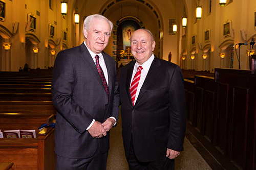 Robert Bulfin, immediate past president of the St. Thomas More Society of South Florida, poses with Herman Russomanno of Miami, past president of the Florida Bar, at the annual Red Mass of the St. Thomas More Society for South Florida, May 15 at St. Anthony Church in Fort Lauderdale.