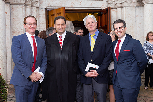 From left: attorney Gary Iscoe, Judge Michael Allen Usan, and attorneys Leo Levenson and Robert Gonzalez pose at the annual Red Mass of the St. Thomas More Society for South Florida.