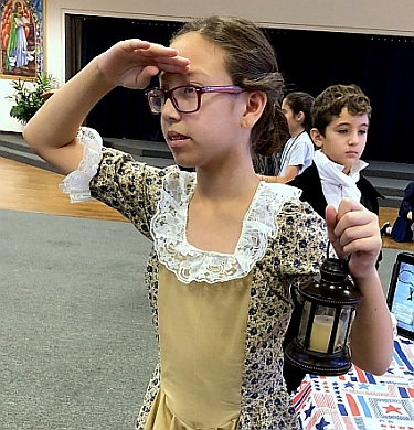 St. Bonaventure student Mia Chang dresses as Revolutionary War figure Catherine Moore.