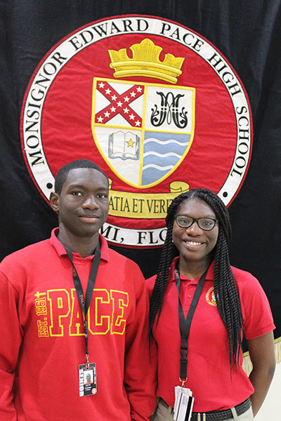 Eudens, 19, and Tajmara Antoine, 18, now graduates of Msgr. Edward Pace High, migrated to Miami from Haiti after the earthquake in 2010, and are the first of their family to attend college.