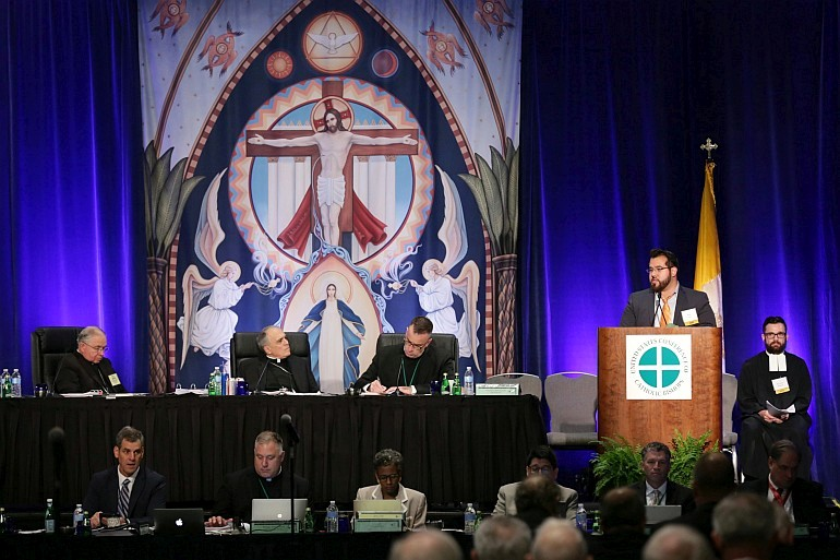 Reproductions of religious art form a dramatic backdrop at the spring meeting of the United States Conference of Catholic Bishops in Fort Lauderdale.