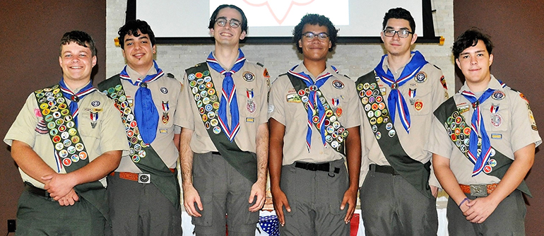 These six Boy Scouts from Troop 314 in Cutler Bay - Brien Culhane, Ryan Kessell, Jacob Steinhilber, Brian Treco, Christian Mendez and Sebastian Mitchell - received certificates acknowledging their well-earned rank as Eagle Scouts during a ceremony July 22 at Our Lady of the Holy Rosary-St. Richard Church in Cutler Bay. Only four percent of Boy Scouts are granted this rank after a lengthy review process and requirements necessary to achieve the rank are fulfilled.