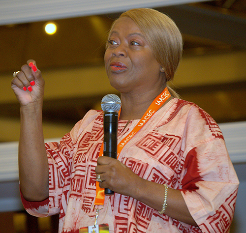 M. Annette Mandley-Turner, founder of the Interregional African American Catholic Evangelization Conference, speaks during its recent conference in Miami. More than 200 attendees, representing 11 dioceses from around the country, took part in the conference, which met in Miami for the first time, Aug. 10-12.