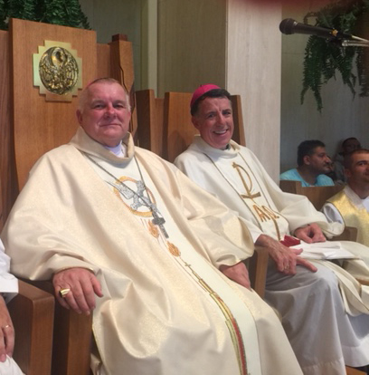 Archbishop Thomas Wenski presides at the Mass concluding the pilgrimage to the Shrine of Our Lady of Czestochowa in Doylestown, Pennsylvania, Aug. 12. At right is Bishop James F. Checchio of the Diocese of Metuchen, New Jersey.