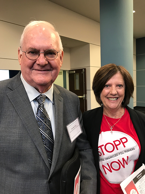 Nationally renowned epidemiologist Jim Hall poses with opioid activist and STOPPNow author Janet Colbert during the Broward County Opioid Epidemic Town Hall Meeting in August 2017.