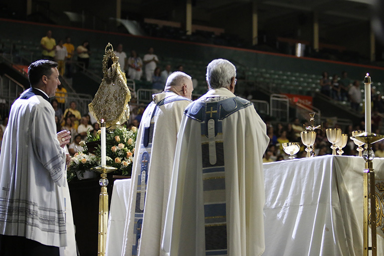 Archbishop Thomas Wenski presides at the 2018 Mass for the feast of Our Lady of Charity, patroness of Cuba. This year's celebration marked the 20th anniversary of her coronation by St. John Paul II during his 1998 visit to the island.