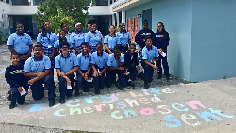 "St. Mary Cathedral School kicked off Respect Life Month by celebrating National Pro-Life Chalk Day Oct. 2. Students from all grade levels wrote out pro-life messages to help promote what St. John Paul II dubbed ""a culture of life."""