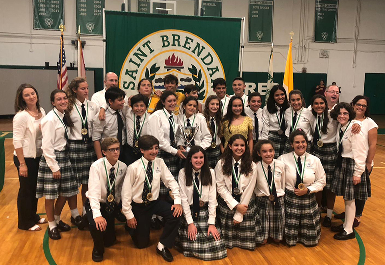 St. Theresa School's eighth-graders won 10 gold, 3 silver and 7 bronze medals at St. Brendan High School's Academic Olympics.