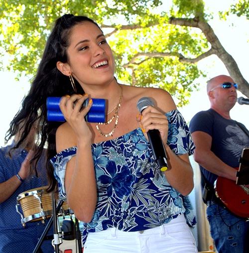 A member of The Call performs during the archdiocese's 60th anniversary picnic at Nativity Church in Hollywood.