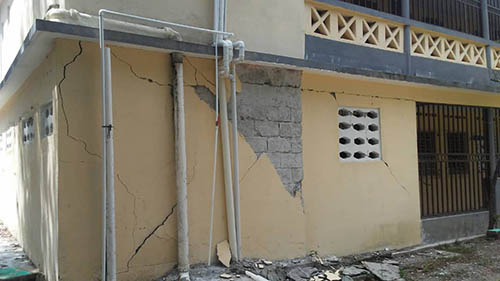 Cracking in the walls of the seminary in Chansolme, Diocese of Port-de-Paix, due to the Oct. 6 earthquake in Haiti. (COURTESY | Amor en Accion)