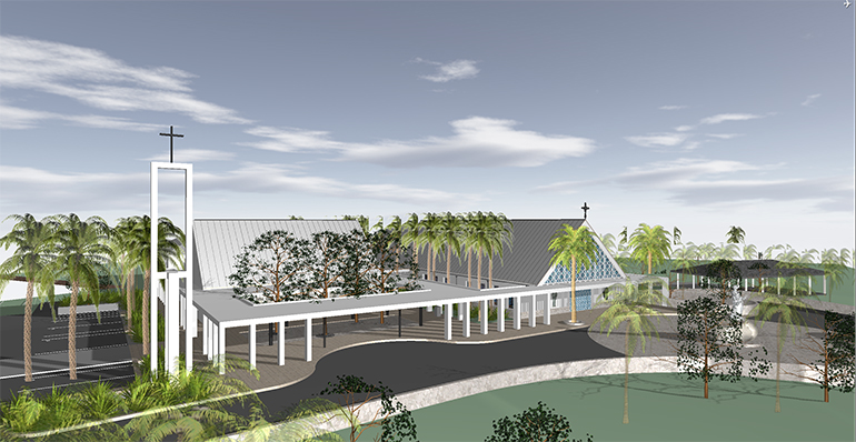 Oppenheim Architecture's rendering of the front view of the future St. Peter the Fisherman Church in Big Pine Key.