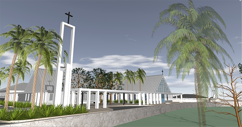 Oppenheim Architecture's rendering of the entry drive to the future St. Peter the Fisherman Church in Big Pine Key.