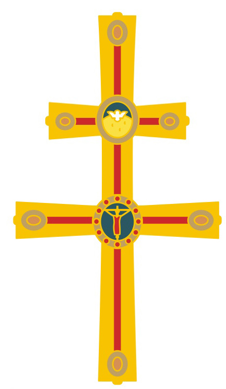 The Jubilaeum pin is a design taken from the archepiscopal cross used at St. Mary Cathedral. The cross is two-barred to signify the dignity of the archbishop. Made like a staff it has the two-barred cross up top and a long downwards extending arm. 