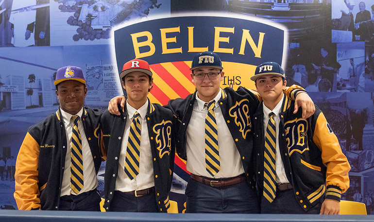 Celebrating after the National Signing Day ceremony, from left, Belen Jesuit baseball players Joshua Salandy (University of Albany), Armando Albert (Rutgers University), Alejandro Torres and Mario Fernandez (Florida International University), Nov. 14, 2018.