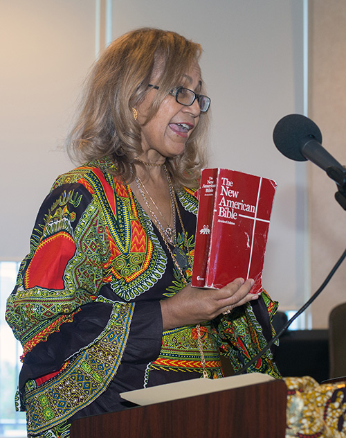 Ida Muorie, author of Black Catholics in America, delivers her speech at the annual Black Catholic History Month luncheon, Nov. 17 in Miami Gardens.