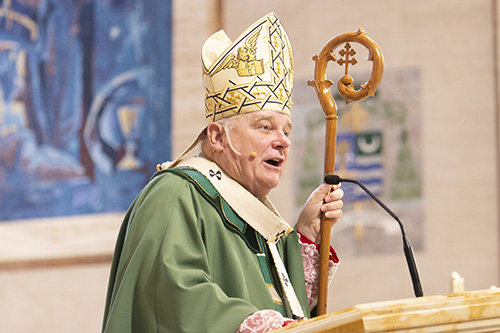 Archbishop Thomas Wenski preaches his homily at the annual ThanksforGiving Mass. The Mass acknowledges those who have consistently donated to the ArchBishop's Charities and Development appeal, and recognizes new members of the Archbishop Coleman Carroll Legacy Society, who remembered or promised to remember the archdiocese in their will. The Mass took place Nov. 18, 2018 at St. Mary Cathedral in Miami.
