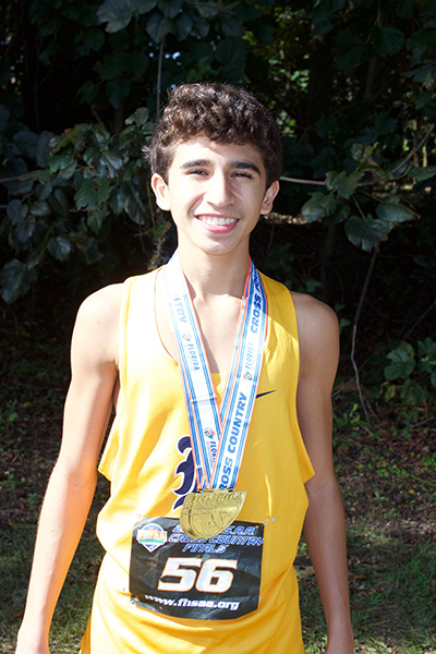 Belen Jesuit sophomore Javier Vento placed first in the 5K run at the Class 3A state boys cross-country championships to lead the school to its 10th state championship. He is Belen's fifth individual champion.