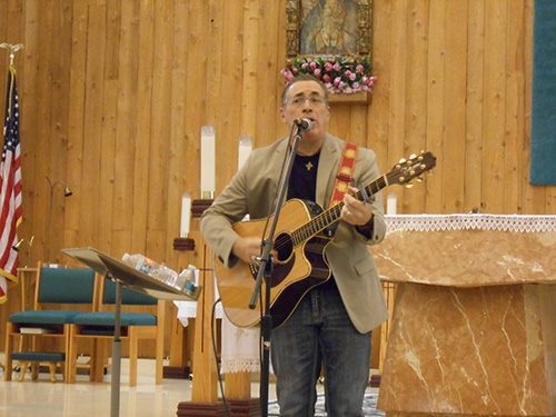Steve Angrisano, a Catholic singer and songwriter, delivers a powerful message of healing through song and testimony. A resident of Littleton, Colorado, he sang at the funerals of three of the Columbine victims.