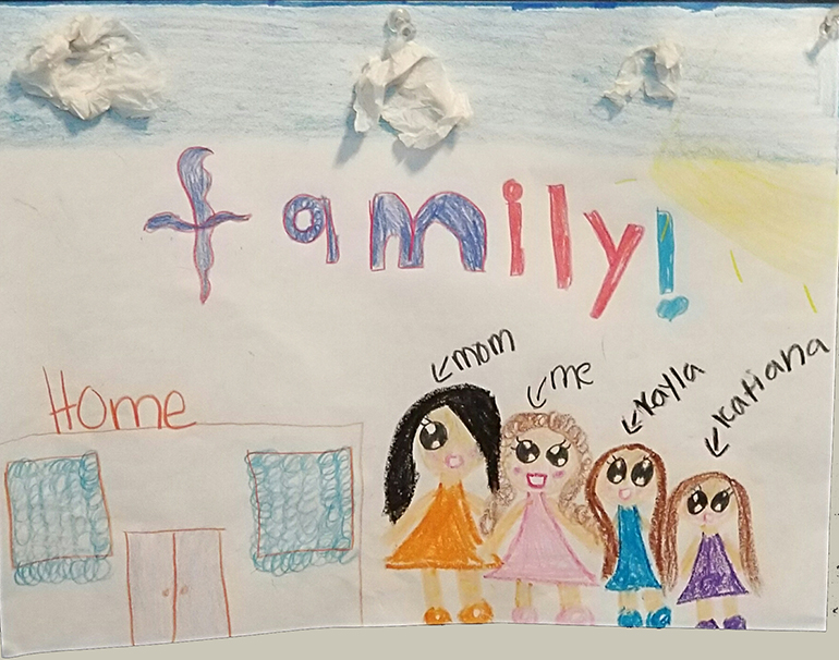 This picture depicts New Life Family Center's goal of keeping families together. Often, homeless families are split up into different shelters. At New Life, the whole family unit is welcomed.  Catholic Charities' New Life Family Center in Miami has an art therapy program to help children who face homelessness cope and express their emotions productively. These drawings were all done by children while staying at New Life.