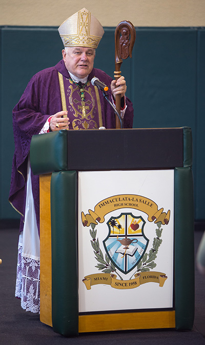 Archbishop Thomas Wenski delivers the homily during the Mass for Immaculata-La Salle High School's 60th anniversary.