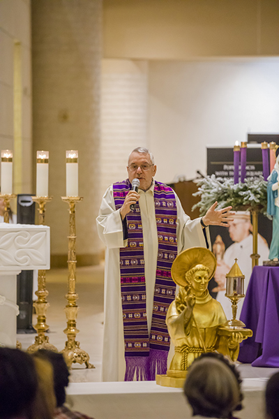 Father Mario Conte of the Basilica in Padua, Italy, preaches the homily at a Mass coinciding with the veneration of two relics of St. Anthony of Padua.  The Mass took place Dec. 3 at St. Mark Church in Southwest Ranches.