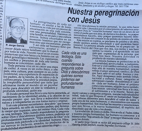 This is the final column Father Jorge Garcia wrote on the theme of