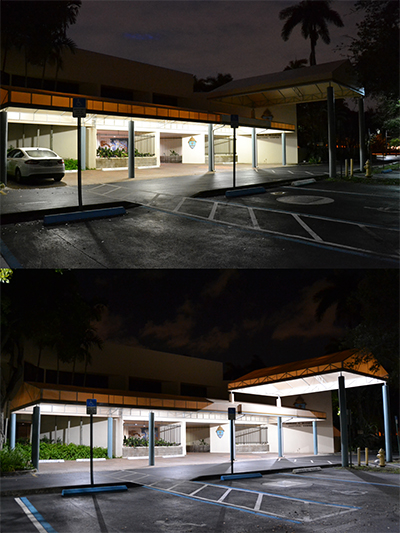 Before (above) and after photos of the Pastoral Center entrance, before and after the installation of LED lights.