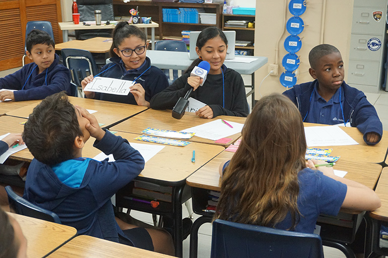 St. Jerome School fifth-graders introduce themselves to fifth graders at Donna Klein Jewish Academy during the video conference that kicked off their participation in the Building Bridges Program.