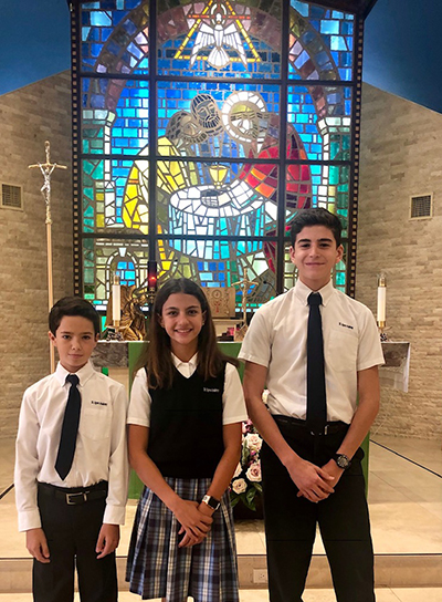 St. Agnes Academy's 2019 ISSF Star Students are, from left: Santiago Perez-Loperena, Andrea Montaner, and Nicolas Nadal.