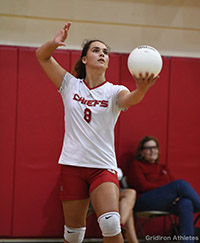 Cardinal Gibbons' Jenna Giaquinto prepares to serve during a game. She finished her senior season with 244 kills and 249 digs.