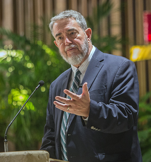 Scott Hahn addresses an audience at St. Hugh Church Feb. 1. The renowned biblical scholar also gave a presentation at St. Agnes Church the next day.