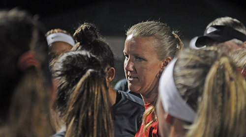 Cardinal Gibbons girls soccer coach Margo Flack consoles her team after their 5-1 loss to Bolles Wednesday, Feb. 20, 2019 at Spec Martin Stadium in DeLand. It was Cardinal Gibbons' first state final since 2009.