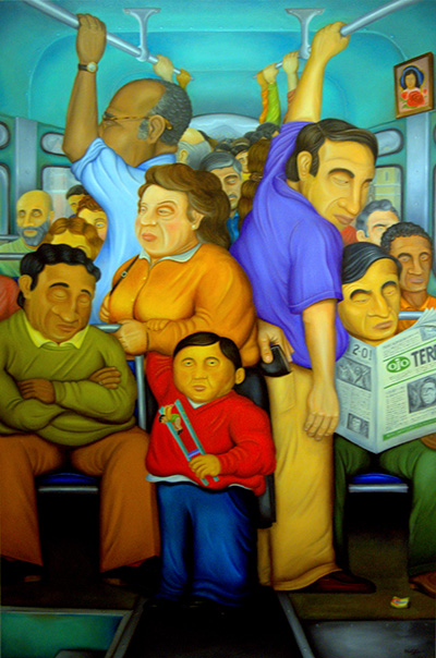 Riders put up with a crowded bus in this painting at new art show by Hugo Orezzoli at St. Thomas University.