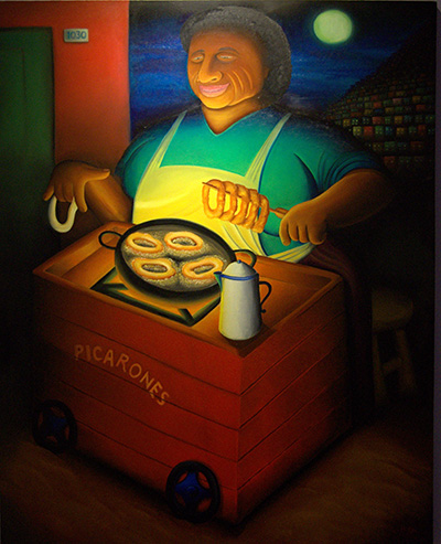 """The Picarones Street Vendor"" is lit by her own charcoal fire in Hugo Orezzoli's art show at St. Thomas University."