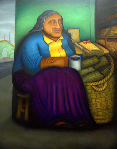 A tamale street vendor offers her wares for breakfast in Lima. Her purple skirt shows that it's October, the time to celebrate El Señor de los Milagros, says artist Hugo Orezzoli.