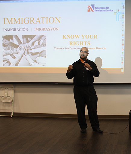 Catholic Legal Services attorney Felix Montañez speaks about asylum to a mostly Venezuelan audience gathered for a Know Your Rights session Feb. 9, 2019 at Our Lady of Guadalupe Church, Doral.