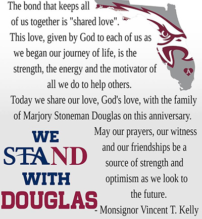 This is the prayer students at St. Thomas Aquinas High School recited on the anniversary of the shooting at Marjory Stoneman Douglas High School in Parkland.