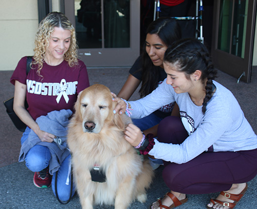 Holly Schneider, far right, a parishioner at Mary Help of Christians, attends a special hour of prayer for healing and peace Feb. 14 at her parish. Her therapy dog, Hammer, also attended and was there fto provide support to anyone who needed it. Shown petting Hammer are Valentina Zuniga, center, and Camila Escobar.
