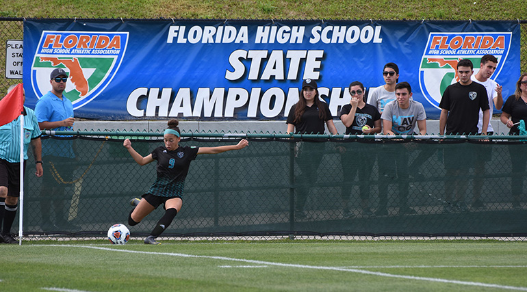 Archbishop McCarthy High forward Nadia Colon executes a corner kick during the Class 4A state championship soccer final in DeLand, which McCarthy lost 0-1 to another nationally ranked team, Montverde Academy.