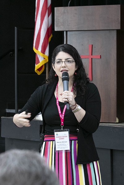 Mary Ann Wiesinger, archdiocesan director of Evangelization and Parish Life, speaks to participants at the archdiocesan Evangelization Summit, March 16, 2019, at Msgr. Edward Pace High School in Miami Gardens.