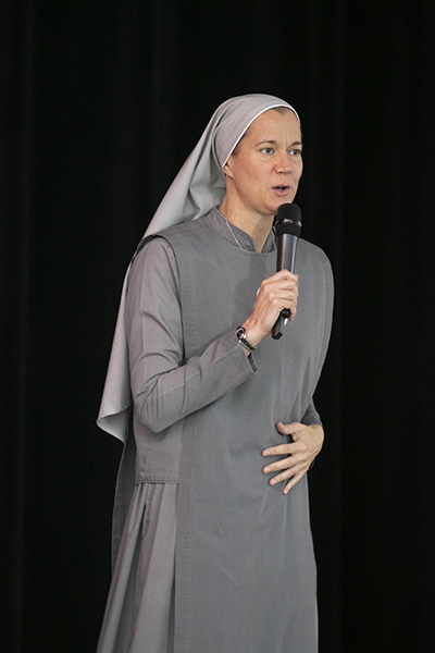 Sister Miriam James Heidland, of the Society of Our Lady of the Most Holy Trinity, was one of the keynote speakers at the archdiocesan Evangelization Summit, March 16, 2019, at Msgr. Edward Pace High School in Miami Gardens.