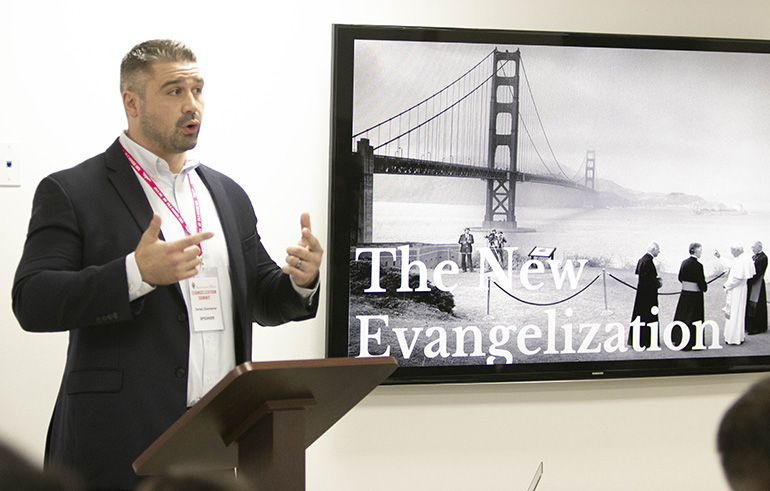 Jared Zimmerer, director of the Word on Fire Institute,  was one of two keynote speakers at the archdiocesan Evangelization Summit, March 16, 2019, at Msgr. Edward Pace High School in Miami Gardens.